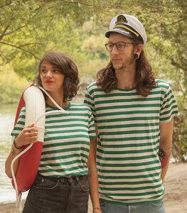 Grün/Natur Streifen T-Shirt  - Fair gehandeltes Unisex T-Shirt - päfjes