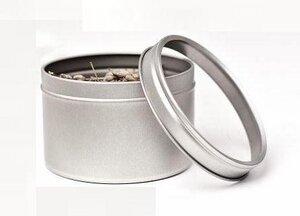 Silberne runde Kräuterdose aus Metall mit Klarsichtdeckel - DS