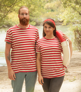 Rot/Natur Streifen T-Shirt  - Fair gehandeltes Unisex T-Shirt - päfjes
