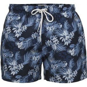 Badehose - Swim Shorts Palm Print - Total Eclipse - KnowledgeCotton Apparel