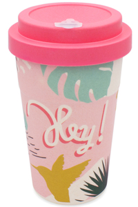 Coffee-to-go Bambus-Becher, Mehrweg Kaffeebecher (Tropical Hey) - heyholi