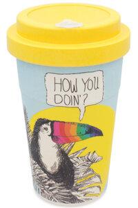 Coffee-to-go Bambus-Becher, Mehrweg Kaffeebecher (Flirty Toucan) - heyholi