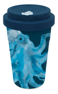 Coffee-to-go Bambus-Becher, Mehrweg Kaffeebecher (Octo Olaf blue) - heyholi