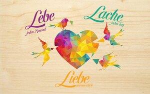 "Bunte Holz-Grußkarte ""Lebe Liebe Lache "" - Biodora"