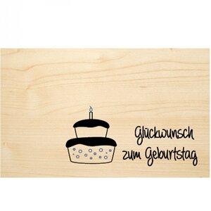 """Geburtstagskarte aus Holz """"Glückwunsch zum Geburtstag """" - Biodora"""