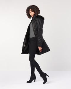 Wintermantel - Ladies' Long HoodLamb Coat - Black - Hoodlamb