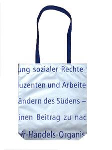 """Schultertasche """"Fairer Handel weißer Text""""- Upcycling von Leesha - Leesha"""