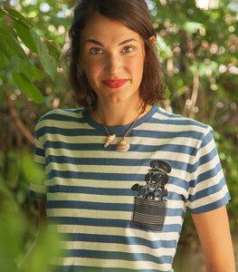 Blau/Natur Streifen Unisex T-Shirt mit Dackelkapitän - Fair gehandelt & Bio - päfjes