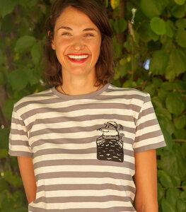 Grau/Natur Streifen Shirt mit Marlene Maulwurf - Fair gehandeltes Unisex T-Shirt - päfjes
