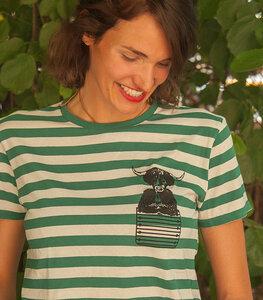 Grün/Natur Streifen T-Shirt mit Ray Galloway  - Fair gehandeltes Unisex T-Shirt - päfjes