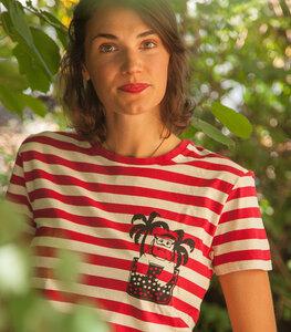 Rot/Natur Streifen T-Shirt mit Nelly Nilpferd - Fair gehandeltes Unisex T-Shirt - päfjes