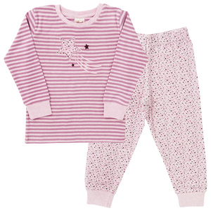 Pyjama Set - rosa geringelt - People Wear Organic