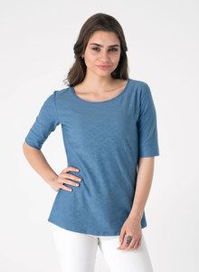 Jersey Jacquard Top mit 1/2 Arm - ORGANICATION