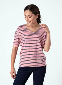 Gestreiftes T-Shirt mit 1/2 Arm und längerem Rückenteil - ORGANICATION