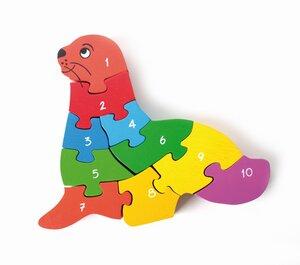 """Puzzle """"Seehund"""" mit Zahlen und Punkten auf Rückseite - El Puente"""