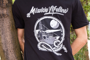 Seil&Mond Herren Recycled Organic T-Shirt schwarz - MISSION LIFELINE