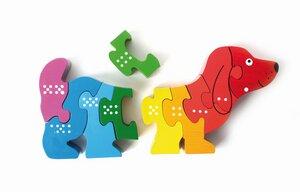 """Puzzle """"Dackel"""" mit Zahlen und Punkten auf Rückseite - El Puente"""