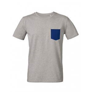 "Pocket – Shirt  'heather grey/deep blue"" - DENK.MAL Clothing"