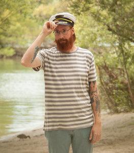 Grau/Natur Streifen Unisex Basic T-Shirt  - Fair gehandelt & Bio - päfjes