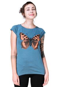 "Bio-& Fair-Trade-Frauenshirt ""Schmetterling Großer Fuchs"" denimblau - Hirschkind"