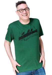 """Bio- & Fair-Trade-Männershirt """"Drei Stare"""" dunkelgrün - Hirschkind"""