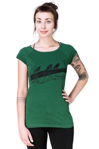 """Bio-& Fair-Trade-Frauenshirt """"Drei Stare"""" dunkelgrün - Hirschkind"""