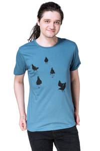 "Bio- & Fair-Trade-Männershirt ""Taubengang"" denimblau - Hirschkind"
