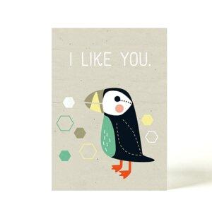 Postkarte Papageientaucher - käselotti
