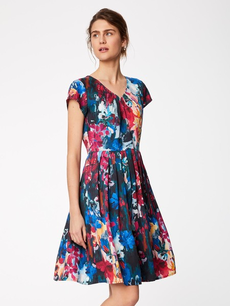 Thought Kleid FLOWER PALETTE DRESS blau | Avocadostore