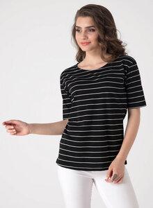 Gestreiftes T-shirt aus Bio-Baumwolle mit halblangen Ärmeln - ORGANICATION