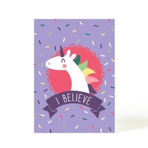 Postkarte Believe Einhorn - käselotti