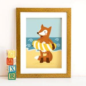 Din A4 Poster Fuchs am Strand - käselotti