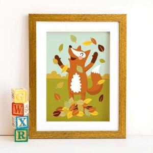 Din A4 Poster Fuchs im Laub - käselotti