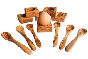 6er Set Eierbecher Troué inkl. 6 Eierlöffel - Olivenholz erleben