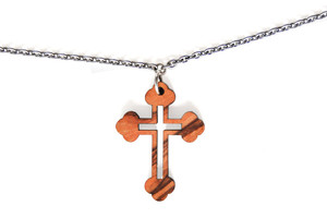 Halskette mit Kreuz aus Olivenholz - Olivenholz erleben