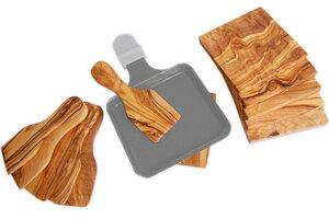 6er Set Raclette-Schieber inkl. 6 Untersetzer - Olivenholz erleben