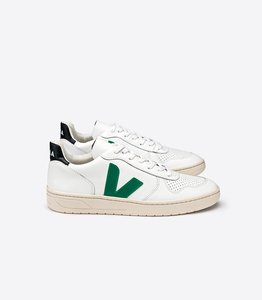 Sneaker Damen - V-10 Leather - Extra White Emeraude Black - Veja