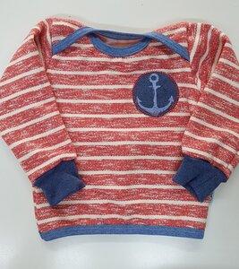 Babyshirt rot-weiß gestreift mit Ankerapplikation - Omilich