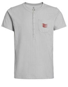 Herren T-Shirt Sergio Rundhalz Knopfleiste Brusttasche Biobaumwolle - ROCKBODY