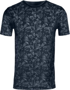 T-shirt with all over bird print - Total Eclipse - KnowledgeCotton Apparel