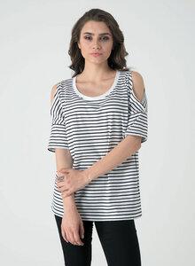 Schulterfreies T-Shirt aus Bio Baumwolle mit Streifen - ORGANICATION
