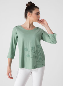 3/4 Arm T-shirt aus Bio-Baumwolle mit Stick - ORGANICATION