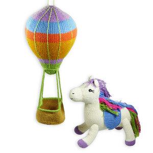 Heißluftballon-Mobile (36 cm) und Einhorn aus Bio-Baumwolle  - Chill n Feel