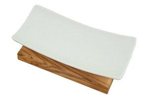 Porzellanseifenschale plus Dudu Osun 25 g / Geschenkebox - Olivenholz erleben