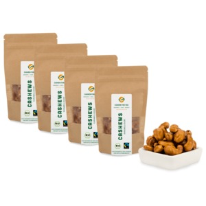 Bio-Fairtrade-Cashewkerne: Karamellisiert (4 x 70g) - Cashew for You