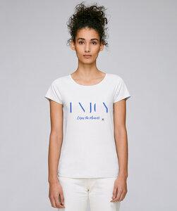 Basic T-Shirt mit Motiv / Enjoy the Moment blue  - Kultgut