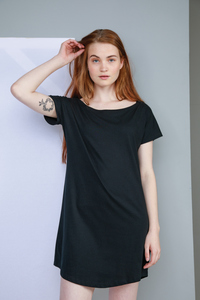Damen Top Langes T-Shirt T-Shirt Kleid Strandshirt Nachthemd - Mantis