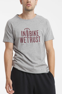 In Bike We Trust T-Shirt - Modisches graues Statementshirt für Herren - thinking mu