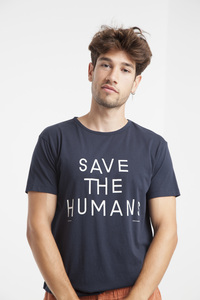 Save the humans T-Shirt - Modisches blaues Printshirt für Herren - thinking mu