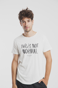 This is not normal T-Shirt - Modisches weißes Printshirt für Herren - thinking mu